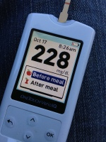 One Touch Verio IQ meter showing my blood glucose level