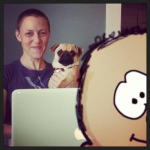 Cartoon TuD photobombs Emily and Lancet The pug