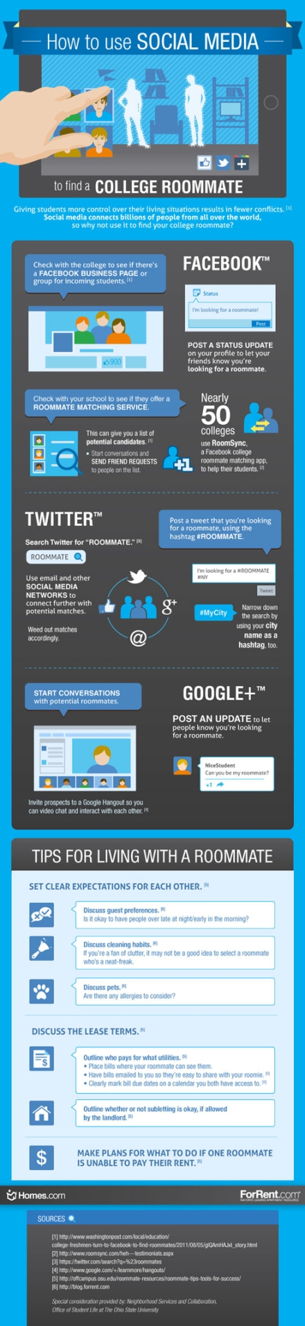 An infographic on how to use social media to find a roommate