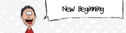 "cartoon character saying ""new beginning"""