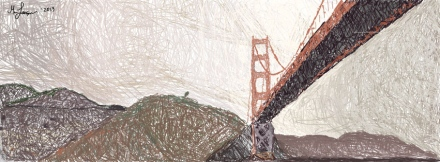 A Hand drawn picture of the Golden Gate Bridge in San Francisco