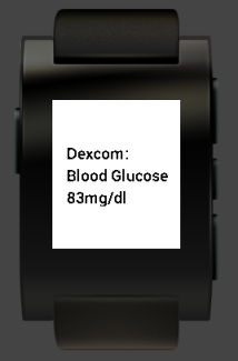 Pebble smartwatch integrated with dexcom continuous glucose monitor