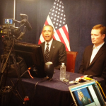 President Barack Obama before an interview on Instagram