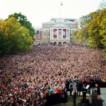 Barack Obama talking in Madison WI on Instagram