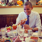 president barack obama eating pizza from instagram