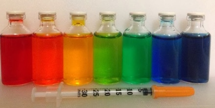 rainbow vials of insulin from pancreassassin for diabetes art day
